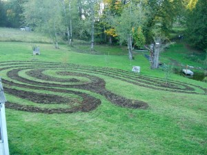 Yard labyrinth.